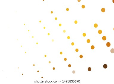 Light Yellow, Orange vector backdrop with dots. Modern abstract illustration with colorful water drops. Pattern for ads, leaflets.