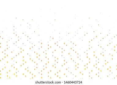 Light Yellow, Orange vector cover with EUR, JPY, GBP signs. Shining colored illustration with EUR, JPY, GBP signs. Smart design for your business advert of economic, wealth.