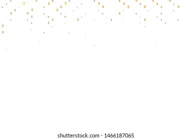 Light Yellow, Orange vector template with EUR, JPY, GBP. Illustration with EUR, JPY, GBP signs on white template. Template for ads of markets, loans.
