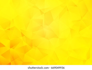 Light Yellow, Orange vector triangle mosaic background. Shining illustration, which consist of triangles. The best triangular design for your business.