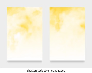 Light yellow textures, abstract hand painted watercolor backgrounds, greeting card or invitation templates, vector illustration