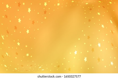 Light Yellow vector cover with small and big stars. Modern geometrical abstract illustration with stars. The pattern can be used for new year ad, booklets.