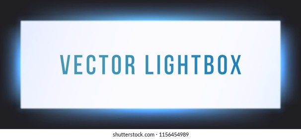 Lightbox sign box mockup. Vector illuminated signage signage light box signboard. Horizontal screen banner with glowing blue neon background