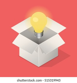 Lightbulb in box. Suggest an idea business concept. Isometric vector illustration.