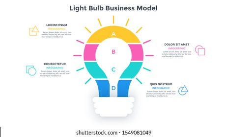 Lightbulb business model divided into 4 colorful layers. Concept of four steps of innovative project. Flat infographic design template. Minimal vector illustration for information visualization.
