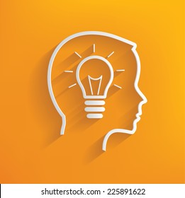 Lightbulb concept on yellow background,clean vector
