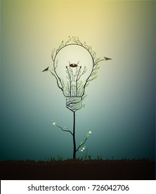 lightbulb created from the leaves and looks like spring tree growing on soil with birds and nest, green energy concept, vector
