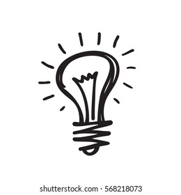 Lightbulb - creative sketch draw vector illustration. Electric lamp logo sign.