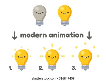 Lightbulb with cute cartoon face animation frames. Turning on from sad to happy. Modern vector style.