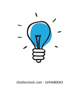 lightbulb doodle icon, vector illustration