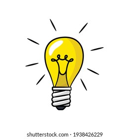 Lightbulb in drawing style isolated vector. Hand drawn object illustration for your presentation, teaching materials or others.