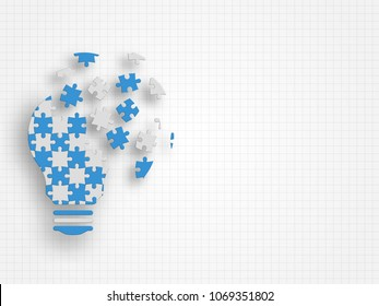 Lightbulb filled in with jigsaw puzzle pieces falling apart on grid background. Technology background. Vector illustration.
