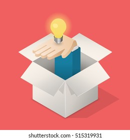 Lightbulb in hand in box. Suggest an idea business concept. Isometric vector illustration.