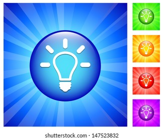 Lightbulb Icon on Round Button with Blue Glow