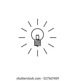 Lightbulb icon outline on white