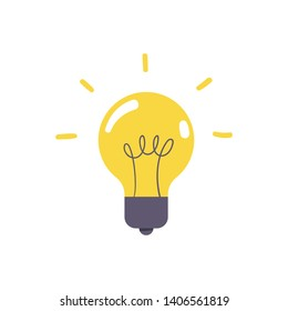 Lightbulb icon, symbol of idea, flat vector illustration. Solution and creativity sign. Shining lamp.