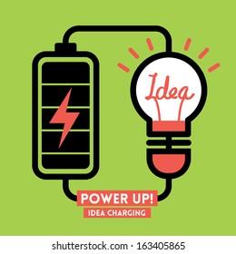 Lightbulb Idea Charging Battery Power Vector