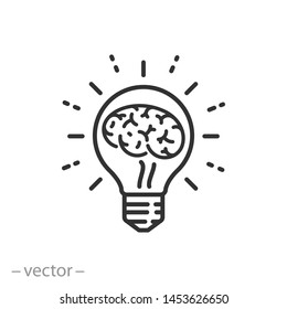 lightbulb idea icon, knowledge innovation, brain inside bulb, logo, light solution thinking, thin line symbols for web and mobile phone on white background - editable stroke vector illustration eps10