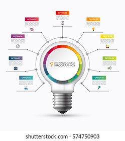 Lightbulb infographic template with 9 options. Creative business startup concept. Can be used as circular chart, cycle diagram, graph, workflow layout for report, web, presentation. Vector background