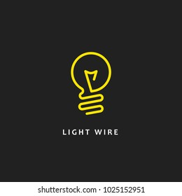 Lightbulb. Isolated vector icon, sign, emblem, pictogram. Flat wire line style for design, web, logo or UI. Eps10