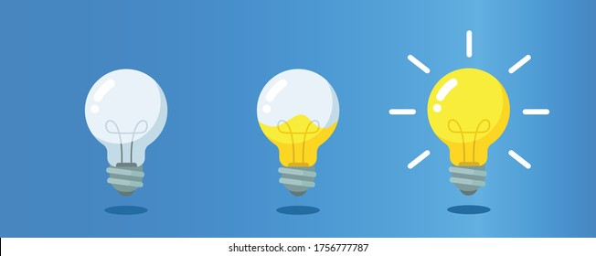 Lightbulb with liquid inside steps to creativity, concept of get ideas. Eps 10 vector illustration.