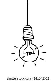 light-bulb with long wire / cartoon vector and illustration, black and white, hand drawn, sketch style, isolated on white background.