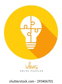 Lightbulb made of puzzle as solution and innovation concept in flat design