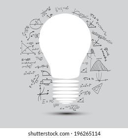 lightbulb with math calculations vector illustration