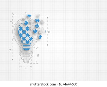 Lightbulb with ratio filled in with jigsaw puzzle pieces falling apart on grid background. Technology background. Vector illustration.