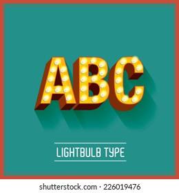 lightbulb typeface vector/illustration a,b,c