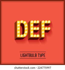 lightbulb typeface/font vector/illustration d,e,f