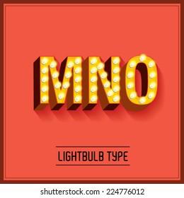 lightbulb typeface/font vector/illustration m,n,o