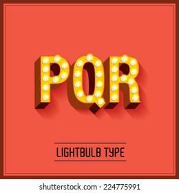 lightbulb typeface/font vector/illustration p,q,r