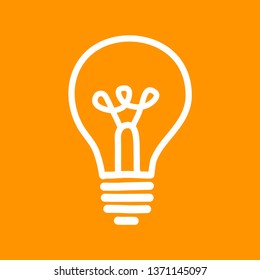 Lightbulb vector icon on orange background