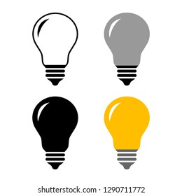 Lightbulb vector icons on white background