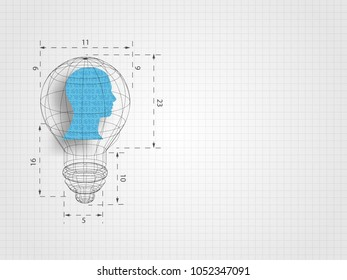 Lightbulb wireframe containing human head model with ratio on grid background represent concept of design thinking, innovation and investment banking. Business and idea concept. Technology background.
