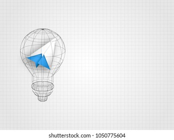 The lightbulb wireframe containing origami airplane on grid background represent design thinking and innovation concept. Business and idea concept. Technology background. Vector illustration.