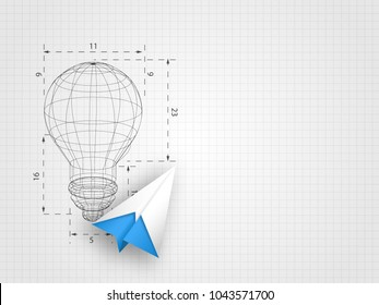 The lightbulb wireframe with origami airplane on grid background represent design thinking and innovation concept. Technology background. Vector illustration.