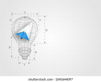 The lightbulb wireframe with ratio containing origami airplane on grid background represent design thinking and innovation concept. Business and idea concept. Technology background.