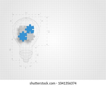 The lightbulb wireframe with ratio containing pieces of jigsaw on grid background represent design thinking and innovation concept. Technology background. Vector illustration.