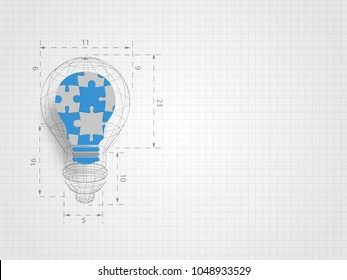 Lightbulb wireframe with ratio containing pieces of jigsaw on grid background represent design thinking and innovation concept. Business and idea concept. Technology background.