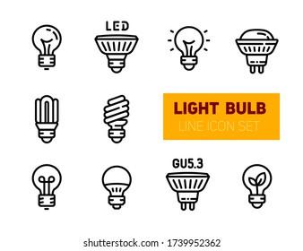 Lightbulbs Icon Set. Light Bulb vector stroke pictogram of glass lamp, fluorescent lightbulb, efficient energy, led, gu5, electric equipment and glow. Outline symbols, isolated on white background.