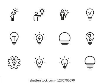 Lightbulbs line icon set. Set of line icons on white background. Fresh idea, lamp, man. Creativity concept. Vector illustration can be used for topics like business, development, science