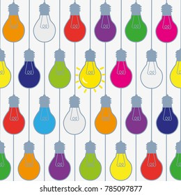 Lightbulbs seamless pattern in bright colors, funny design. Vector graphic illustration
