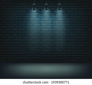 Lighted stage with blue wall behind, vector background