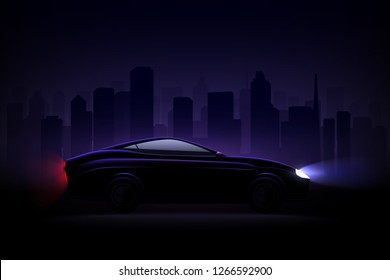 Lightened luxury sedan car against night city background with headlamps and rear tail lights lit vector illustration