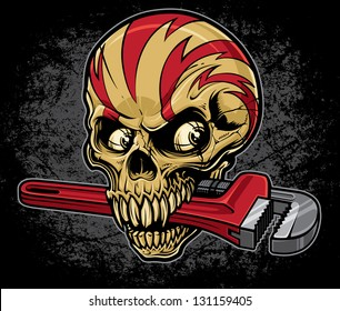 Lightening skull with an adjustable pipe wrench in his mouth on a heavily textured grunge background. Top of skull is wrapped with lightening bolt graphics.