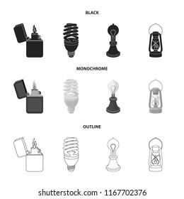 Lighter, economical light bulb, edison lamp, kerosene lamp.Light source set collection icons in black,monochrome,outline style vector symbol stock illustration web.