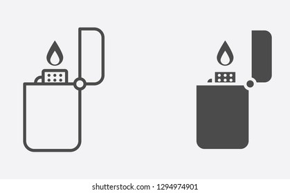 Lighter filled and outline vector icon sign symbol