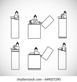 Lighter with fire icon in style of linear design. Vector set.